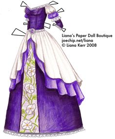 The Twelve Dancing Princesses (A Christmas Tale), Day 3: Daphne's Purple Gown with Light Purple and Silver Accents and Moonflowers | Liana's Paper Dolls