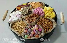 Treats for a party using Kmart tray & paper bags Party Platters, Party Food Buffet, Party Trays, Snacks Für Party, Appetizers For Party, Food Value, Dessert Platter, Food Displays, Food And Drink