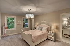 Traditional Kids Bedroom with Carpet, Pendant Light, Peruvian Silver Joia 5 Light Drum Chandelier, High ceiling