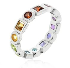 This ring is a simple and gorgeous design which will be equally liked by those who want a simple design along with those who want something trendy. It sports the popular eternity style with multiple gemstones encrusted throughout its length, however the different variety of gemstones add a distinct flavor of coolness generally not found in eternity rings.