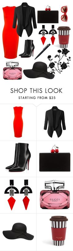 """Black and Red Asthetic"" by snow21white on Polyvore featuring McQ by Alexander McQueen, LE3NO, Christian Louboutin, Edie Parker, Toolally, Gucci, Henri Bendel and John Lewis"