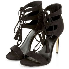 Black Ghillie Heeled Sandals (2.950 RUB) ❤ liked on Polyvore featuring shoes, sandals, laced up shoes, black heel sandals, laced sandals, open toe shoes and lace-up heel sandals