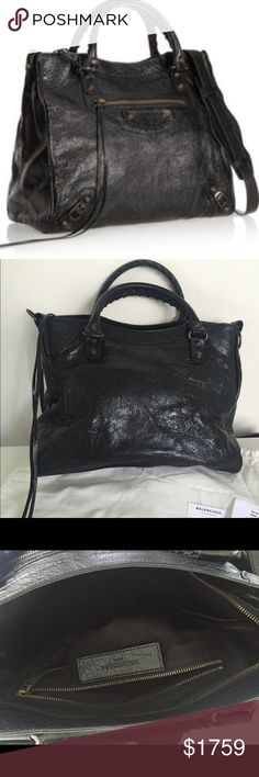 "Balenciaga classic velo cross body bag Balenciaga It's an authentic new bag with all the new tags. I am selling it tax free (-$155) (original store price is $1835+$155tax=$1990) Balenciaga crackled lambskin leather bag.(Black)Nickel hardwareRolled top handles with whipstitch detail; 4"" drop. Removable, adjustable shoulder strap, 21"" drop. Zip top with fringe pulls. Front zip pocket. Inside, fabric lining; one zip and two open pockets. dust bag Weighs 1.3lbs/ 0.6kg  Made in Italy    …"