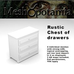 Meshopotamia Rustic chest of Drawers Chest Of Drawers, Filing Cabinet, How To Apply, Rustic, Bedroom, Country Primitive, Drawer Unit, Dresser, Retro