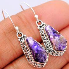 Charoite 925 Sterling Silver Earrings Jewelry CROE131 - JJDesignerJewelry