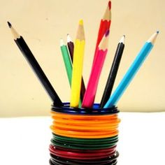 How to make a colorful pencil stand from bangles via @Guidecentral - Visit www.guidecentr.al for more #DIY #tutorials