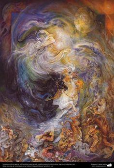 Grip infinite times ... 1991 - Persian painting (Miniature) - by Prof. M. Farshchian
