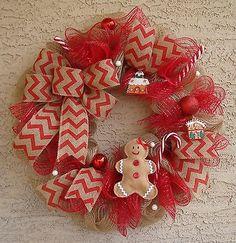 CHRISTMAS Wreath ~ Deco Mesh Door Wreath Gingerbread Wreath Candy Cane Burlap