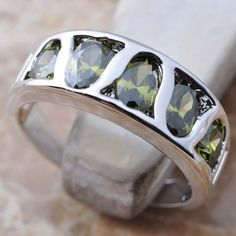 Unique Green Peridot Gemstone Silver Ring Size 5 6 7 8 9 N01266 #34Handmade34 #Solitaire