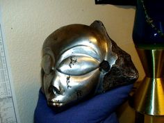 An alien head formed from a large Campo del Cielo iron meteorite.  A very unusual piece.  Not mine and not for sale.