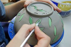 Here I'm caving the veins into the leaf motif.