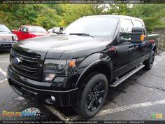 2013 Ford F150 FX4 SuperCrew 4x4 Tuxedo Black Metallic / FX Sport Appearance Black/Red Photo #5   DealerRevs.com