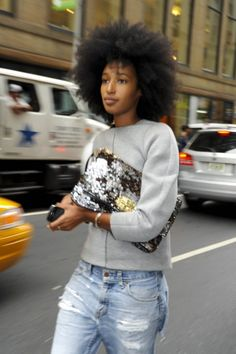 Girl with an Afro and Sequin Bag, Calvin Klein