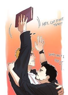 Steve doesn't want to show his drawing book cuz he draws Tony in there yeah Stony