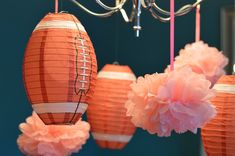 Touchdowns or tutus gender reveal party. Shows. Paper lanterns from Oriental Trading