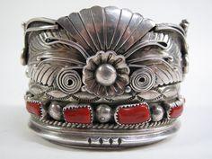 ☮ American Hippie ☮ Taxco sterling silver and Mediterranean coral cuff, Gomez, Mexican Jewelry, Southwest Jewelry, Sterling Silver Jewelry, Antique Jewelry, Vintage Jewelry, Silver Ring, Silver Earrings, Navajo, Bijou Box