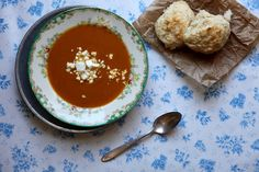 Joy The Baker  CURRIED SWEET POTATO SOUP WITH GOAT CHEESE BISCUITS