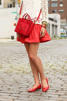 No flats - heals only! Love the over the shoulder bag... size, style, color & shape. Goes great w/the outfit & puts it together.