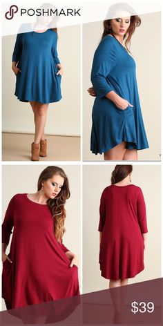 """Most Comfortable Dress Ever-Teal GET ALL THREE . Same dress as Your Favorite Black Dress!! Scoop neck, scalloped hemline.   Bust - XL 42"""", 1X 44"""", 2X 46"""", Length 35"""".   95% Rayon 5% Spandex Dresses"""