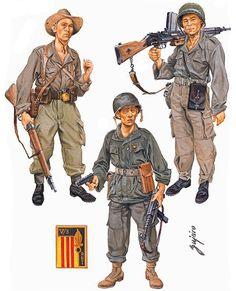"""Armée Nationale Vietnamienne, 1954-55"" • Rifleman • Light machine gunner • Platoon commander"