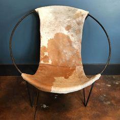 Image of Mid-Century Cowhide Sling Hoop Chairs