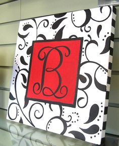 Black and red monogram DIY for Kay's dorm but in aqua & black