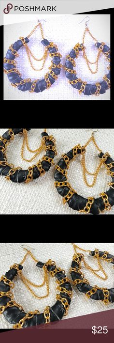 Bamboo Leather  & Gold Earrings- LUX & CHER Gold bamboo earrings adorned in vegan black leather and draped in gold chain accents... size shown is 3 inches... but can be reproduced in 2 and 4 inches as well as other colors LUX & CHER jewelry Jewelry Earrings