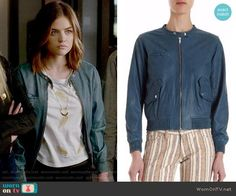 Aria's teal leather jacket on Pretty Little Liars.  Outfit Details: https://wornontv.net/71961/ #PLL