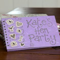 Personalised hen party book.
