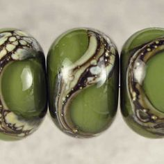 Army Green Handmade Lampwork Glass Beads, Lampwork Bead Set,  Handmade Lampwork, Green Beads, Organic Web, Glossy 11x7mm Army Green