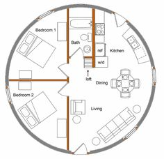 foot Monolithic Dome built for you complete with appliances installed. foot Monolithic Dome built for you complete with appliances installed. Silo House, Tiny House Cabin, Cottage Floor Plans, House Floor Plans, Round House Plans, Yurt Home, Circle House, Earth Bag Homes, Geodesic Dome Homes