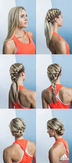 We love the way this style keeps hair up and away during tough workouts. Here's how to get the look: 1. Starting at the crown, begin French braiding along the hairline. 2. Switch to a regular braid at nape of the neck. 3. Flip up the end of the braid, loop into a bun. 4. Secure with hairpins, go! Product only available in the USA. While you're braiding, click through to complete the look!