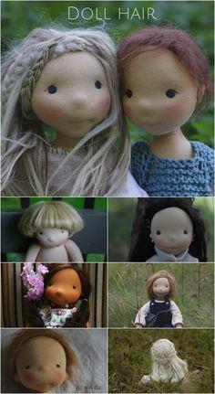 Übersicht über verschiedene Arten Puppenhaar zu machen. Discussing doll hair: the options and methods most widely used when creating natural fiber art dolls (via fig and me).