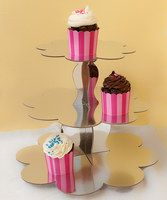 "Give desserts the display they deserve with this charming cupcake stand. With flower-shaped tiers and an eye-catching silver color, it's entirely disposable to minimize cleanup and cries of ""Careful!"" 13'' HBase tier: 14.5'' diameterTop tier: 10'' diameterPaper<li style='margin-bo..."
