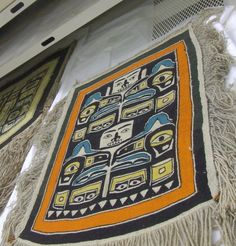 """Apron by Mary Ebbetts. Apparently, once owned by """"Mrs Margaret Nicholson"""" or """"Peggy Nicholson"""". May have originally been owned by Sarah Hunt. Phoebe A. Hearst Museum of Anthropology 2-14952"""