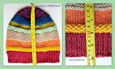 how to knit, free knit patterns, slouchy hats, crazy stripe hats, Knitting Patterns Free, Knit Patterns, Free Knitting, Baby Hats Knitting, Knitted Hats, Knit Slouchy Hat Pattern, Crazy Hats, Knitting Projects, Knit Crochet
