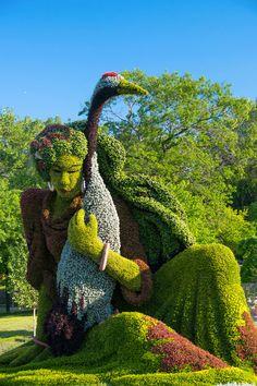 Des sculptures v�g�tales monumentales install�es dans les jardins de Montreal