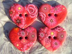Red Heart Polymer Clay Buttons