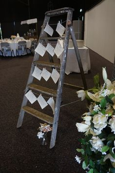 Love how grandma's ladder is used for a seating chart.  www.tailracecentre.com.au Table Seating, Seating Charts, Ladder Decor, Make It Simple, Wedding, Inspiration, Home Decor, Valentines Day Weddings, Biblical Inspiration