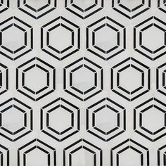 Georama Nero Pattern Polished Marble Mosaic Tile is crafted from fine natural stone. Featuring a statement-making geometric pattern created with white and black marble in charming hexagons, it's a throw-back to retro with contemporary flair. Marble Mosaic, Mosaic Tiles, Mosaic Bathroom Floor Tile, Honed Marble, Mosaic Wall, Wall Tiles, Shower Surround, House Tiles, Shower Remodel