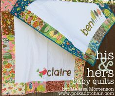 New Tutorial: His & Hers Baby Quilts - The Polkadot Chair