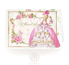 Marie Antoinette card, let them eat cake, birthday card, card for her, card for girlfriend, pink card, macarons, shower tea card, high tea