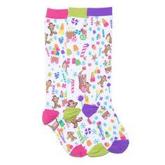 Smelly Zany Gingerbread Land Knee High Socks #funkysocks #gingerbread #littlemissmatched