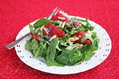 Strawberry Spinach Salad with Poppy Seed Dressing via Jeanette's Healthy Living http://ow.ly/bl99P #summer #salad #strawberries #healthy #recipe #food