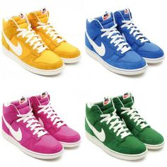 NIKE DUNK HIGH '08 BLAZER PACK 5COLORS #sneaker Rainbow Sneakers, Sneakers Nike, Nike Dunks, Blazer, Running, Deco, Winter, Clothing, Pink