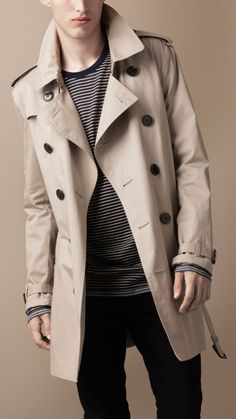 BURBERRY BRIT MID-LENGTH COTTON TRENCH COAT
