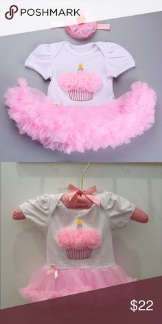 Adorable Cupcake Onesie with Headband 🍰🎂🍭 Perfect for your little princess! Tutu is attached 😍😍😍 One Pieces Bodysuits