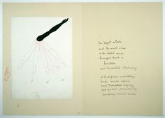 "Louise Bourgeois, Sublimation, 2002 – mixed media book of 15 pages, each 104,6 x 147,7 cm – ""he kept alive / and he went over / to the closet and / brought back a / broom / and he started cleaning / at that point something / broke inside of me / and I started crying / and you know, I never cry / something broke inside"""
