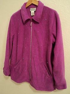Quacker Factory Jacket - Size Medium - Women s Purple Fleece Sweater Coat  with Rhinestones Fleece Sweater ad280b09f65f