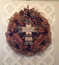 A personal favorite from my Etsy shop https://www.etsy.com/listing/253340710/christian-burlap-wreath-burlap-cross